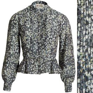 Conscious Collection Gray Floral Pleated Blouse